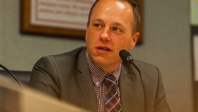 Vineland School Board President Jeffrey Bordley speaks following the 2018 reorganization at the Vineland Public School Board Headquarters on Wednesday, January 3.