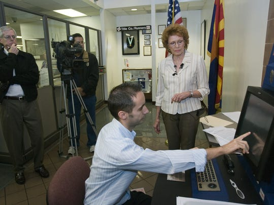 In 2010, Maricopa County Recorder Helen Purcell unveils