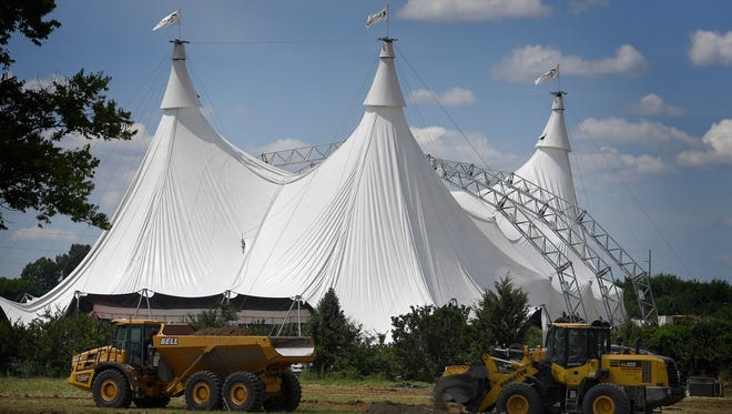 The Tennessee debut of CavaliaÕs Odysseo will be under an enormous tent along Briley Parkway that was erected Monday, July 31, 2017 in Nashville, Tenn.
