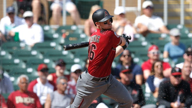 Mar 2, 2016: Arizona Diamondbacks second baseman Chris Owings (16) in the first inning during a spring training game at Salt River Fields at Talking Stick.