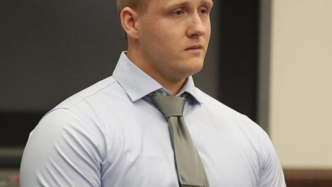 Lewis Watson apologizes to the woman he sexually assaulted before he is sentenced to two years in prison on Oct. 7 in Summit County Common Pleas Court. Watson, a former Cuyahoga Falls police officer, has been granted early release after serving about seven months of his prison sentence.