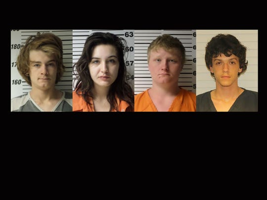 From left, Nathaniel Lee, Brooke Beckley, Joshua Applegate and Anthony Donovan have been charged with murder in Webster County.