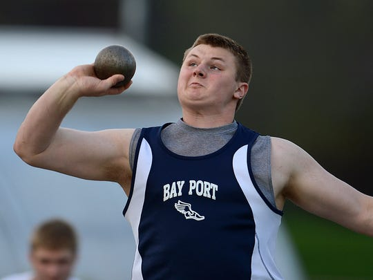 Bay Port junior Cole Van Lanen leads the state honor roll in the boys shot put and discus.