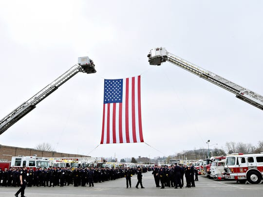 Our Fallen Brothers - A Celebration of Life for York City fallen firefighters Ivan Flanscha, 50, and Zachary Anthony, 29, at Memorial Hall at the York County Fairgrounds in York City, Wednesday, March 28, 2018. Dawn J. Sagert photo