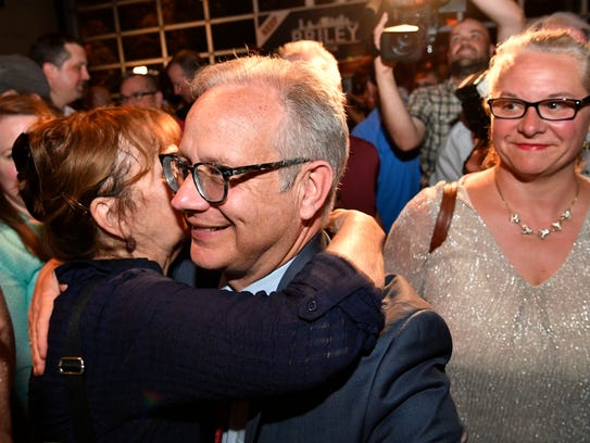 Mayor David Briley is greeted by his supporters at