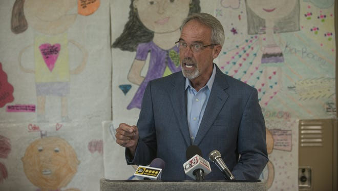 State School Superintendent Tommy Bice, now retired, speaks on July 16, 2015, at Carver High School in Montgomery on the Brain Forest Summer Learning program. The Alabama Board of Education is interviewing six finalists Thursday in the search for a new state school superintendent.