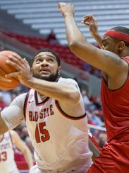 Ball State's Franko House goes for another shot attempt