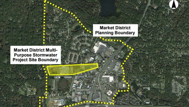 Shown here is where a new city park in the Market District would be located.