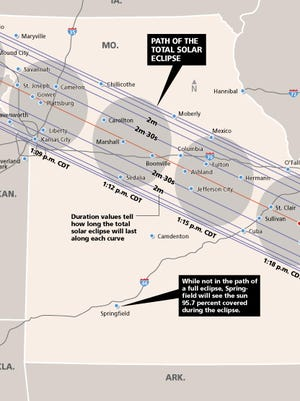 This map shows the Aug. 21 solar eclipse's path across Missouri.