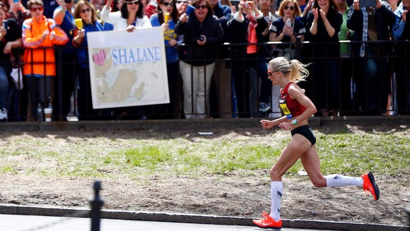 Shalane Flanagan, of Portland, Ore., runs through the