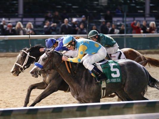 20141129 El Kabeir (5) wins Kentucky Jockey Club over Imperia (center) and E