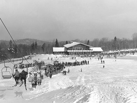 A view of the Stratton Base Lodge in 1962.