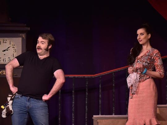 "Scott Purcell and Mary Beth Nelson star in the Tri-Cities Opera production of ""L'heure espagnole."""