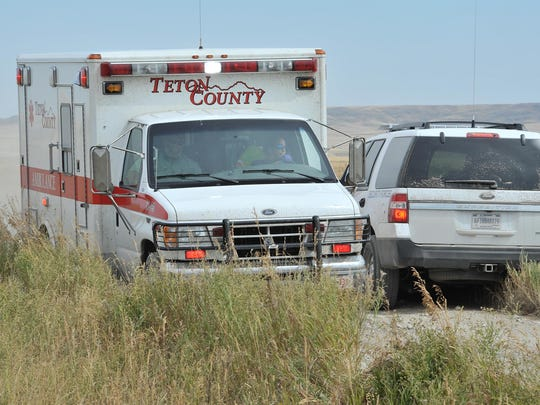 An ambulance from Teton County Emergency Medical Services is processed onto the scene of a mock attack on an Air Force convoy near Choteau.