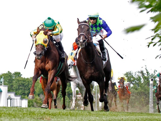 20140524 War Dancer (inside) beats Suntracer (outside) in Louisville Handica.jpg