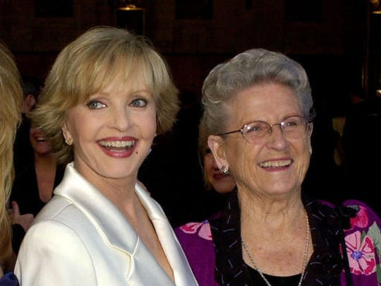 "FILE - In this March 16, 2003 file photo, ""The Brady Bunch"" cast members Florence Henderson, left, appears with Ann B. Davis at ABC's 50th Anniversary Celebration in Los Angeles. Henderson, who went from Broadway star to become one of America's most beloved television moms, died, Thursday, Nov. 24, 2016, in Los Angeles. She was 82. Davis, who became the country's favorite and most famous housekeeper, died in 2014 at 88."