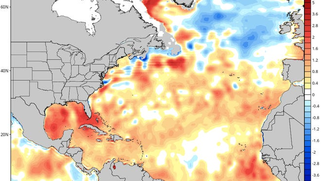 Sea surface temperature differences from normal as of April 17.