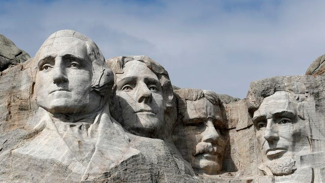 This March 22, 2019, file photo shows Mount Rushmore in Keystone, S.D. President Donald Trump will begin his Independence Day weekend on Friday with a patriotic display of fireworks at Mount Rushmore National Memorial before a crowd of thousands.
