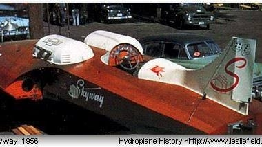 The Miss Skyway U-7 hydroplane shown here in 1956 has a new home in Great Falls, minus the Corvette engines.