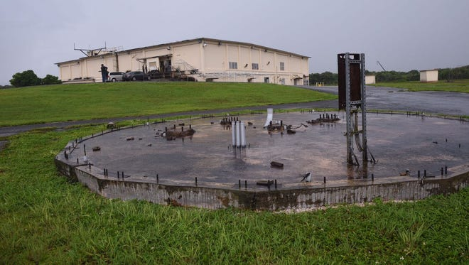 "Part of the proposed construction site of the U.S. Marine Corps base on the Naval Computer and Telecommunications Station is shown in the photo taken on Friday, Aug, 18, 2017. The location was an antenna  communications area formerly called the ""elephant cage."""