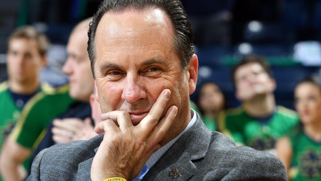 Mar 1, 2017; South Bend, IN, USA; Notre Dame Fighting Irish head coach Mike Brey smiles after Notre Dame defeated the Boston College Eagles 82-66 at the Purcell Pavilion. Mandatory Credit: Matt Cashore-USA TODAY Sports