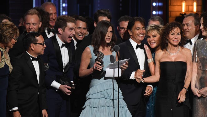 Cast and crew members of 'Dear Evan Hansen' accept the award for Best Musical at the 71st Tony Awards.