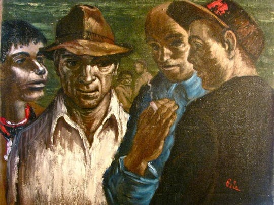 """In this Albert Pels piece, called """"Factory Workers,"""" the men could be talking about a strike. This is one of 91 paintings donated to Cincinnati Public Schools. It is valued at $2,000."""