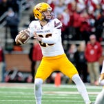 Nov. 7, 2015; Pullman, Wash.; Arizona State Sun Devils punter Matt Haack throws a pass for a first down against the Washington State Cougars during the second half at Martin Stadium. The Cougars won 38-24.