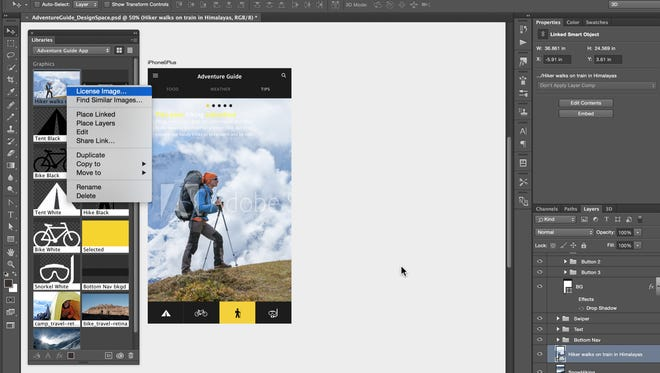 Screen shot of Photoshop app, and purchase of stock photo directly within the app.