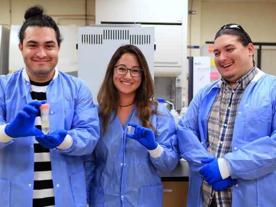 Del Mar College students Danial Nasr Azadani (from left), Reavelyn Pray and John Ramirez will present their concept of using bacteriophages commercially to treat for potentially deadly viruses to members of Congress. They were selected as finalists in the 2017 Community College Innovation Challenge.