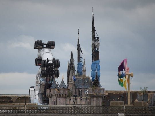 A view of Banksy's 'Dismaland' anti-theme park, which