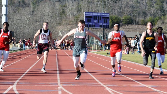 Madison's Junior Denton was the boys winner of the 100-meter dash Wednesday at Western Carolina University.