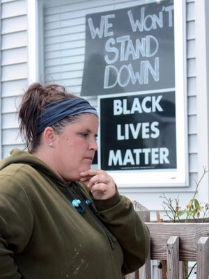 Crystal Allard, by the Black Lives Matter signs that she was told to remove or be fined $25 a day is moving from her Anthony Estates, Jewett City home because of a neighbor she says repeatedly makes racist remarks to her 10 year old bi-racial son. See video at NorwichBulletin.com