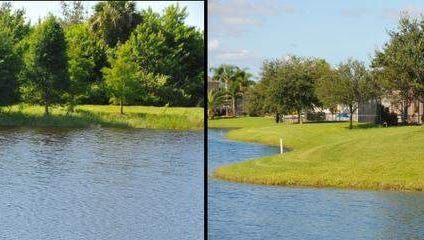 Photo coillage of retention ponds. Photo on left showing native trees and plants at the water's edge neaer Pineda Causeway and I-95, photo on right showing sod to the waterline in the Sandhill Trace neighborhood off Pineda Causeway.