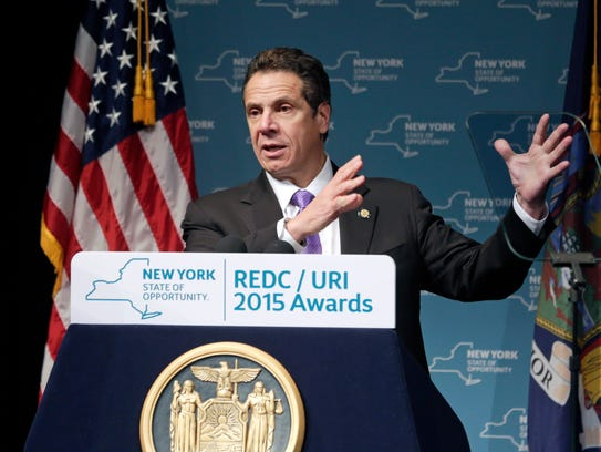 New York Gov. Andrew Cuomo speaks during an economic