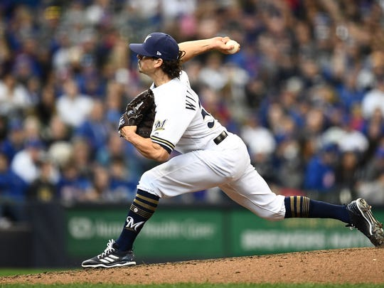 Brewers reliever Taylor Williams throws a pitch in the seventh inning against the Cubs earlier this year.