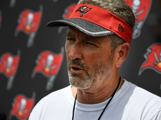 Buccaneers head coach Dirk Koetter address the media after a joint practice against the Titans at Saint Thomas Sports Park Wednesday, Aug. 15, 2018, in Nashville, Tenn.