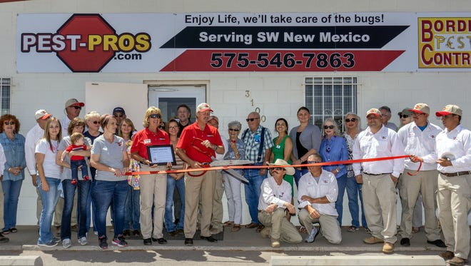 """Border Pest Control, """"Pest Pros,"""" held a celebration to recognize 45 years of service to customers in Deming and Luna County. Owner Jim Dye celebrated with staff, technicians, customers and members of the board of the Deming-Luna County Chamber of Commerce at the business location, 3100 E. Pine St.."""