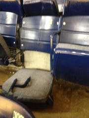 View of the damaged seats at Assembly Hall.