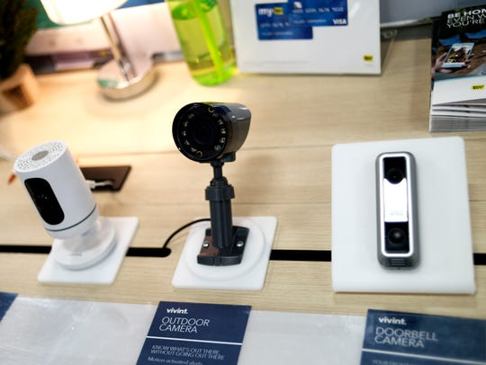 Vivint outdoor cameras are seen for sale at Best Buy