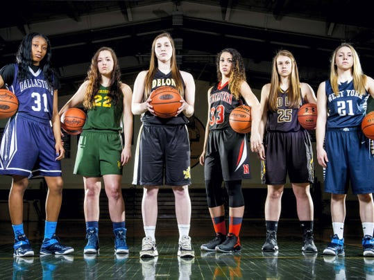 GameTimePA.com's first-team girls' basketball all-stars are, from left: Dallastown's Amari Johnson, York Catholic's Marissa Ressler, Delone Catholic's Maddie Comly, Northeastern's Jordyn Kloster, Red Lion's Courtney Dimoff and West York's Kari Lankford. Not pictured: West York's Emily Wood. Read more about the all-stars inside.