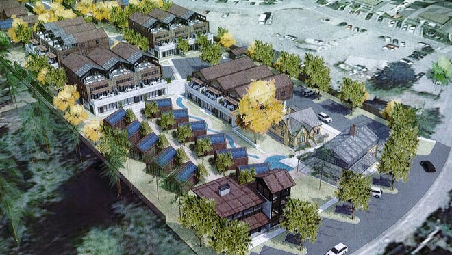 Aerial view of the Roost development.