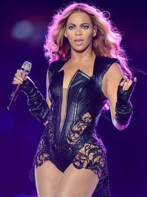 In this Feb. 3, 2013 file photo, recording artist Beyonce performs at Super Bowl XLVII, in New Orleans.