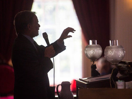 Rep. David Sharpe, D-Bristol, chairman of the House Education Committee, discusses details of the new state budget and school employee health care deal to House members at the Statehouse in Montpelier on Wednesday, June 21, 2017.