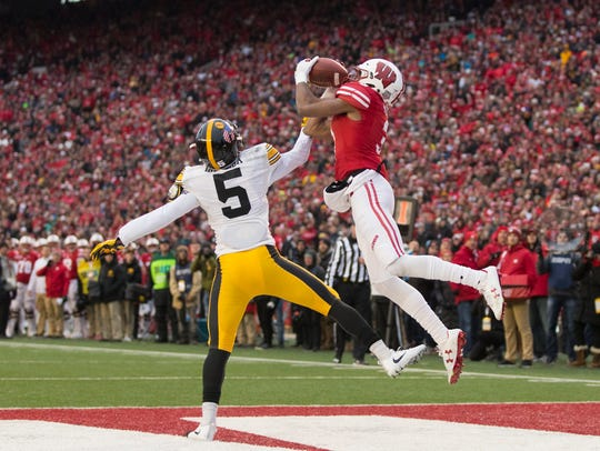 Iowa cornerback Manny Rugamba (5) started eight of Iowa's 13 games but had some November struggles, including against Wisconsin and Purdue.
