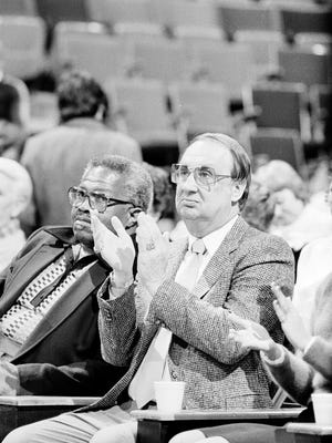 Cleveland Cavaliers owner Ted Stepien watches his team during a game against the Detroit Pistons in Cleveland, Ohio, Feb. 26, 1983. He did lot for Cleveland community but was most vilified sports owner - until Art Modell moved the Browns.