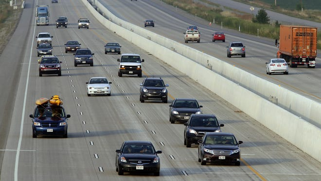 Traffic moves along Interstate 41 between Neenah and Oshkosh.