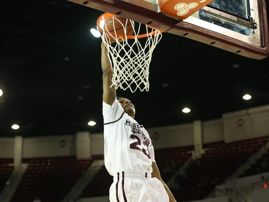 Mississippi State senior guard Tyson Carter has scored 20-plus points in each of the Bulldogs' first two games.
