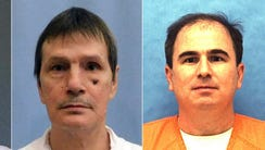 This photo combo shows death row immates, from left,