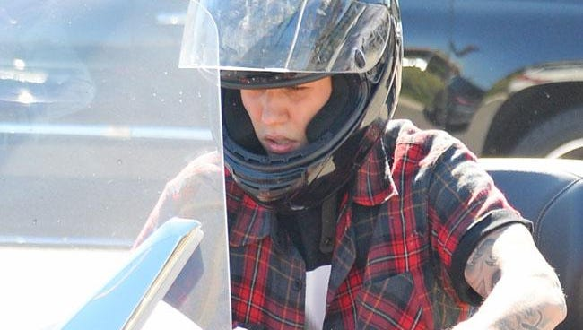 Justin Bieber on his his Can-Am Spyder